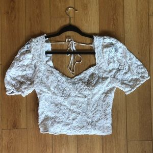 Free People White Lace Blouse, Size M, Never Worn